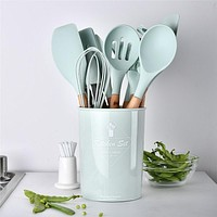 Light Green Silicone Cooking Utensils Set Non-stick
