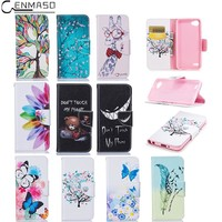 """CENMASO Case For LG Q6 5.5 """" Fashion Cartoon Pattern PU Leather Holster Flip Cover For LG G6 mini Wallet Card Mobile Phone Shell"""