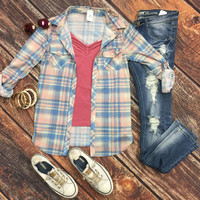 Penny Plaid Flannel Top: Blue/Rose
