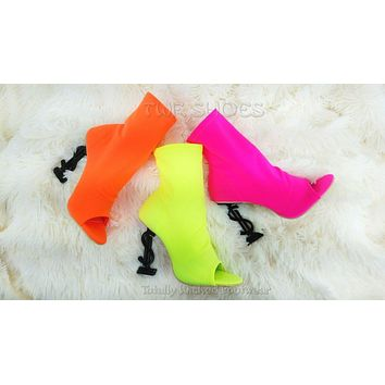"""CR Infinite Neon Colors Stretch Slip On Ankle Boot 4"""" Dollar Sign High Heels"""