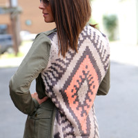 Olive + Aztec Back Military Jacket