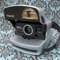 Polaroid One Step Silver Express Instant 600 Camera with Strap