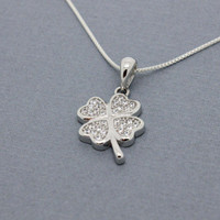 Lucky shamrock necklace St Patrick's Day gift Sterling silver four leaf clover charm good luck birthday gift for her