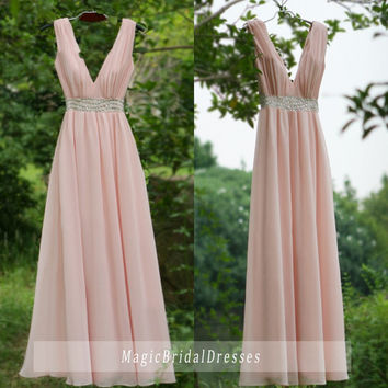 Amazing Baby Pink Evening Dresses Spring 2016 Charming V-neck V-back Design Floor-length Long Prom dresses Shining Beading around Waist Gown