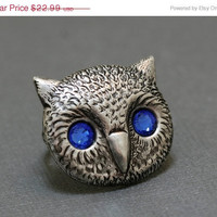 10% OFF Owl Head Ring,Silver Plated Ring,Antique Ring,Antique Silver,Victorian,ring ,Silver Ring,Antique Ring,