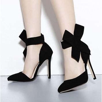 Sexy Women Shoes Pointed Toe Bow High Heels Sandals