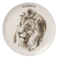Vintage Lion With Orange Eyes Transparent Drawing Melamine Plate
