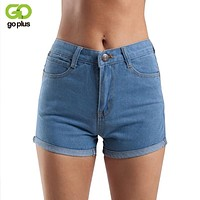 GOPLUS 2017 New Summer Shorts High Waist Denim Shorts Vintage Black Jeans Shorts Women Slim Button Fly Sexy Shorts Feminino