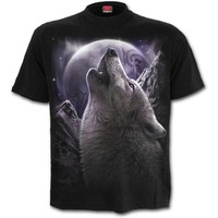 Womens WOLF SOUL Front Print T-Shirt Black Shop Online From Spiral Direct, Gothic Clothing, UK