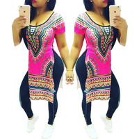 Dashiki Pink Sides Slit Tall Shirts