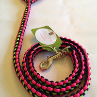 Very unique black and neon pink with neon green reflective running down the middle para cord dog leash