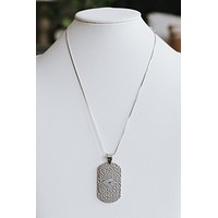 Metal Dog Tag Evil Eye Necklace