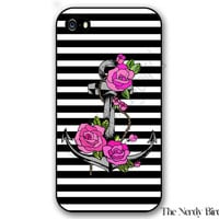 Anchor and Roses with Black and White Stripes iPhone 4, 5, 5c and 6 and Samsung Galaxy s3, s4 and s5 Phone Case