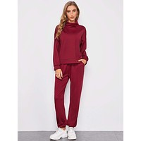 SHEIN Funnel Neck Pullover & Drawstring Joggers Set