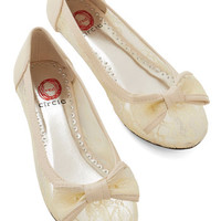 ModCloth Fairytale Sheer to Fall in Love Flat in Cream