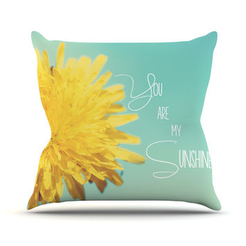"""Beth Engel """"You Are My Sunshine"""" Teal Flower Throw Pillow"""