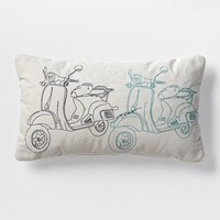 Embroidered Scooter Pillow – Frost Gray