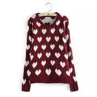 Heart Pattern Long Sleeve Knitted Pullover Sweater