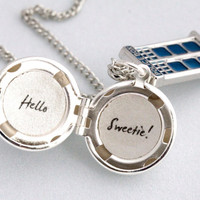 Doctor Who Hello Sweetie River Song Tardis Silver Locket Necklace