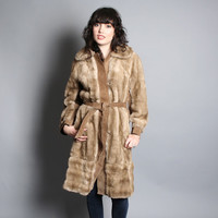 70s Faux MINK COAT / Belted Golden Honey Faux Fur, xs-m