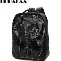 Cool Backpack school 2017 Budalaa Cool Men Backpacks Autumn Man Fashion Bag Men Travel Leather Backpack Bags 3 Colors to Choose Black Silver Golden AT_52_3