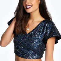 Darcy Cape Sleeve All Over Sequin Top