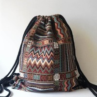Ethnic Fabric Drawstring Bag