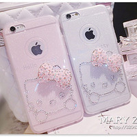 Pretty Crystal Rhinestone Diamond Case Cute Butterfly Bow Hello Kitty Soft Case Clear Cover For iphone 6 plus 5s Phone shell