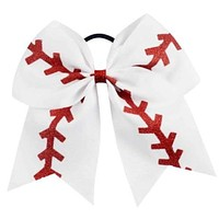 7 inch Glittery Softball Baseball Cheer Bow Large for Girls
