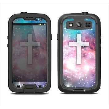 The Vector White Cross v2 over Colorful Neon Space Nebula Samsung Galaxy S3 LifeProof Fre Case Skin Set