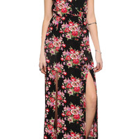 ROMWE Crossed Straps Floral Print Cut-out Longline Black Dress