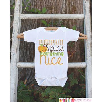 Kids Fall Outfit - Autumn Thanksgiving Pumpkin Tshirt or Onepiece - Baby Boy or Baby Girl Outfit - Pumpkin Spice - New Baby Gift Idea