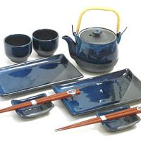 Rustic Blue Sushi and Tea Set - Traditional Japanese Tableware