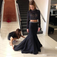 Two Piece Prom Dresses ,Black Prom Dress,Long Evening Dress