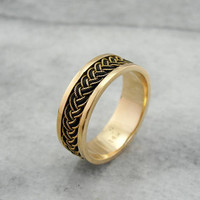 Antique Gold Band, Woven Gold and Elephant Hair, Rare Antique Ring, Yellow Gold Band ZW3TUL-R