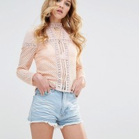 Glamorous High Neck Top With Sheer And Lace Panels at asos.com