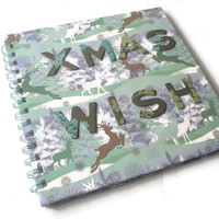 """Spiral Bound Note Book  8"""" x 8"""" Christmas wishes Ice Blue Cool minty Green Reindeer winter snow scene organiser"""