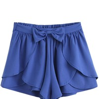 Sheinside Women's Bow Cascading Ruffle Chiffon Skirt Shorts (One Size, Navy)