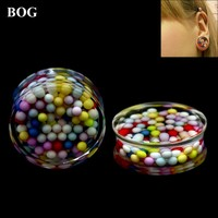 BOG-1 Pair Multicolor Beads Inside Double Flared Ear Plugs Saddle Flesh Tunnel  Expanders Gauge Body Piercing Jewelry
