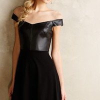 Ponte & Leather Flared Dress by