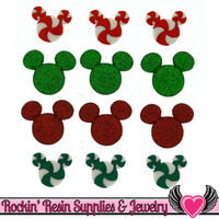 Disney MICKEY MOUSE HEADS Christmas Candy and Glitter Licensed Buttons