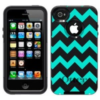Otterbox Commuter Chevron Turquoise and White Pattern Case for Apple iPhone 4