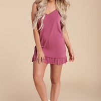 Small Town V Neck Tank Dress (Raspberry)