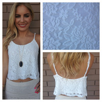 White Lace Crop Tank