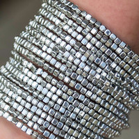 Flashback Gold And Silver Metal Beaded Stacked Wrap Bracelets
