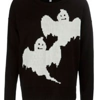 New Look Mobile | Misumi Black Ghost Print Knitted Jumper