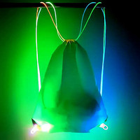 Pulse Electronic LED Drawstring Bag - Black LED Optical Wire Backpack Light Up Bag Illuminated Back Pack - White/Multicolor