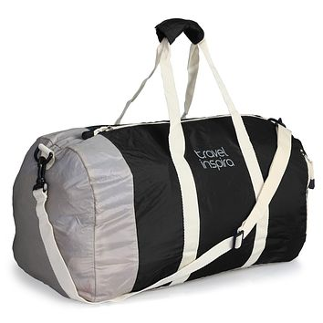 travel inspira Duffel Bag For Women & Men - Foldable lightweight Duffle For Luggage Gym Sports Black 60L