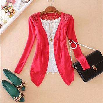 Fashion Women's Cardigan Lace Sweet Candy Pure Color Slim Crochet Knitted Blouse Sweater