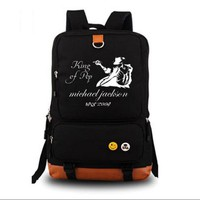 Michael Jackson King of Pop Men Women Shoulder School Rucksack Backpack Black Bag Book Bag